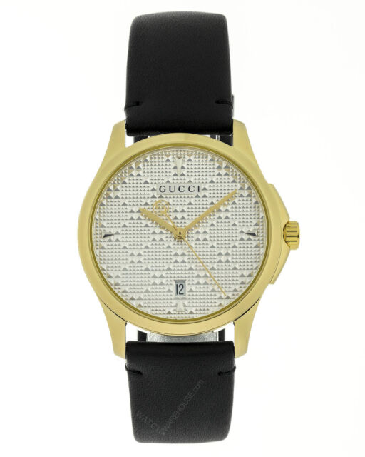 a59d103e657 Gucci G-timeless Diamante Pattern Silver Dial Gold PVD Unisex Watch  YA1264027