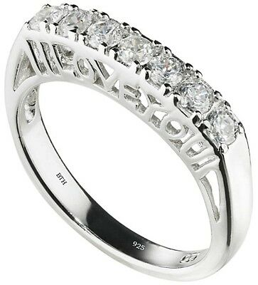 Fein 925 Silver Ladies Unique I Love You Half Eternity Wedding Engagement Band Ring