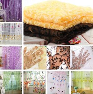 8-Styles-Schmetterling-Blumen-Tuell-Fenstervorhang-Voile-Drape-Schal-Valance-R6Y2