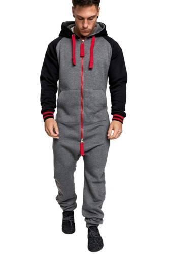 Men Winter Hooded Romper Bodysuit Clothes One Piece Zipper Jumpsuit Playsuit Set