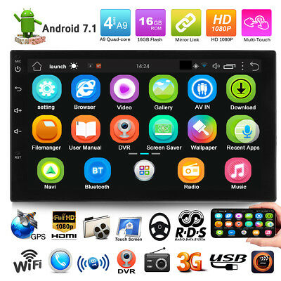 """Double 2DIN 7"""" Android 7.1 Quad Core 3G Car Stereo MP5 Player WIFI GPS FM Radio"""