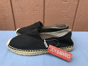 2be85a64a5c Details about NWT Joy and Mario Black Canvas Espadrille Women's Size US 6  Slip On Shoes A7