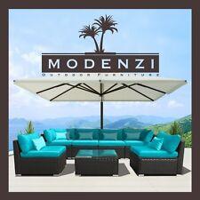 Modenzi 7PC Outdoor Patio Furniture Rattan Wicker Sofa Chair Couch Set Turqoise