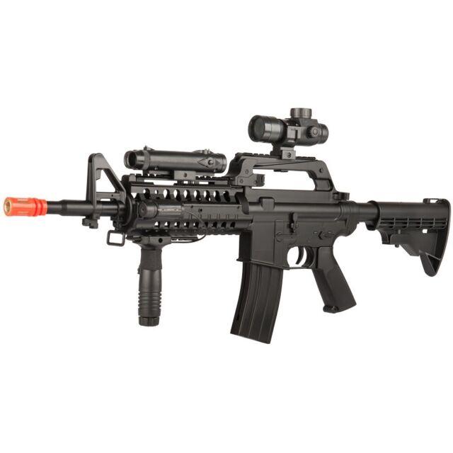 400 fps well m4 spring airsoft rifle gun w scope flashlight laser