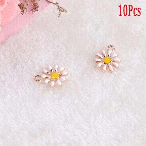 10Pcs//Set Enamel Alloy Sunflower Shape Charms Pendant DIY Craft Jewelry MakiWR