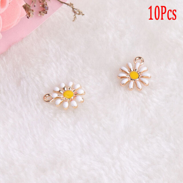 10Pcs/Set Enamel Alloy Sunflower Shape Charms Pendant DIY Craft Jewelry Mak SM