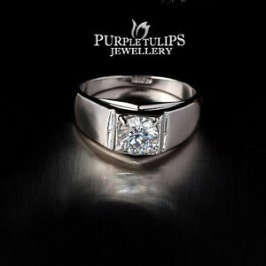 18CT-White-Gold-Plated-Classic-Men-039-s-Ring-Made-With-SWAROVSKI-Lab-Diamonds