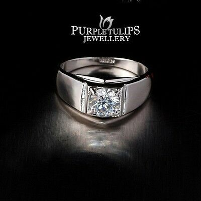 18CT White Gold Plated Classic Men's Ring With Genuine SWAROVSKI Lab Diamonds