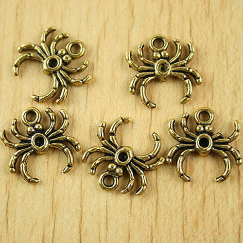 25pcs dark gold-tone spider charms findings h1864