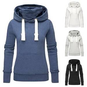 Details zu Damen Rollkragen Kapuzenpullover Pullover Pulli Sweatshirt Hoodie Sweatjacke Top