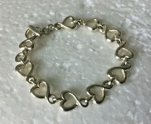 VTG-heavy-Solid-Sterling-Silver-HEART-Chain-7-25-in-034-BRACELET-925-Toggle-25g