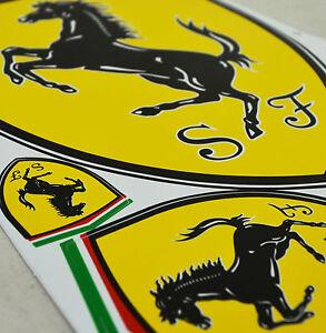 A4-Sheet-of-Ferrari-Motorcar-Logo-Stickers-Decals-Motorsport-Supercar-UK-Stock