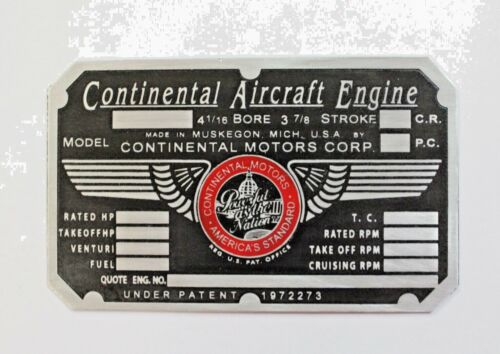 C90 Continental Motors Engine Data Plate Aeronca Cessna 140 Piper Cub Nice!