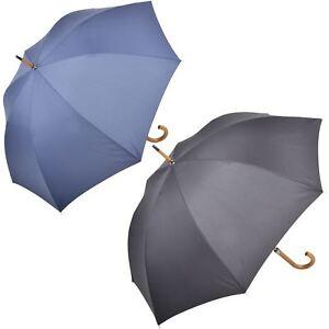 Details About Esprit Ladies Walking Umbrella Manual Wood Crook Handle Black Navy Hook Shower