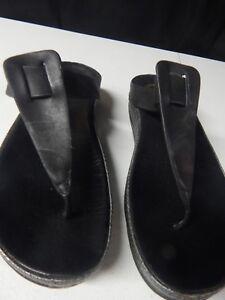 1c88a354f FITFLOP Ibiza Womens 10 Black Leather Slide Thong Flip Flop Sandal ...