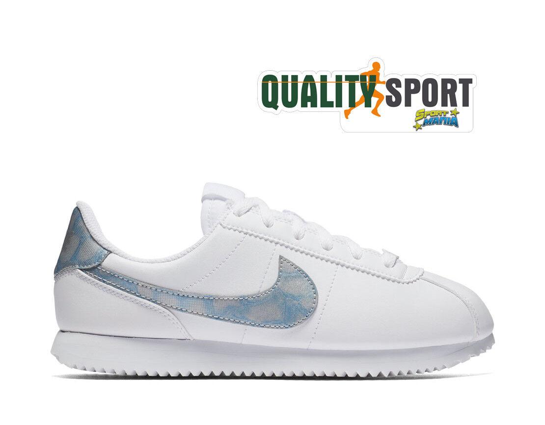 Nike Cortez Sneakers Basic SL Bianco Celeste Scarpe Shoes Donna Sneakers Cortez AH7528 103 2018 388a92