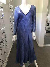 Komarov 3/4 Sleeve Beaded V Neck Dress In Blue Xl