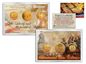 1976-BICENTENNIAL-COIN-COLLECTION-24K-Gold-Plated-US-3-Coin-Set-QUARTER-IKE-JFK