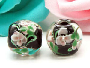 10pcs-handmade-Lampwork-glass-round-Beads-flower-15mm-black-flower