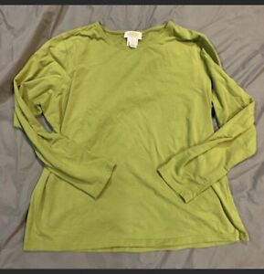 TALBOTS-Long-Sleeve-Green-Top-Woman-039-s-XL-Casual-Preppy