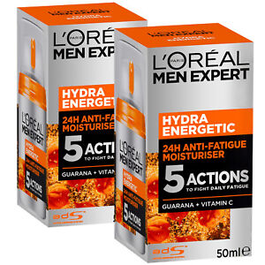 L'Oreal Paris Men Expert Hydra Energetic Moisturiser Anti-Fatigue 50ml x 2