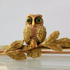 Superb Antique Victorian/ Early Edwardian 9ct Gold & Green Stone Owl Bar Brooch
