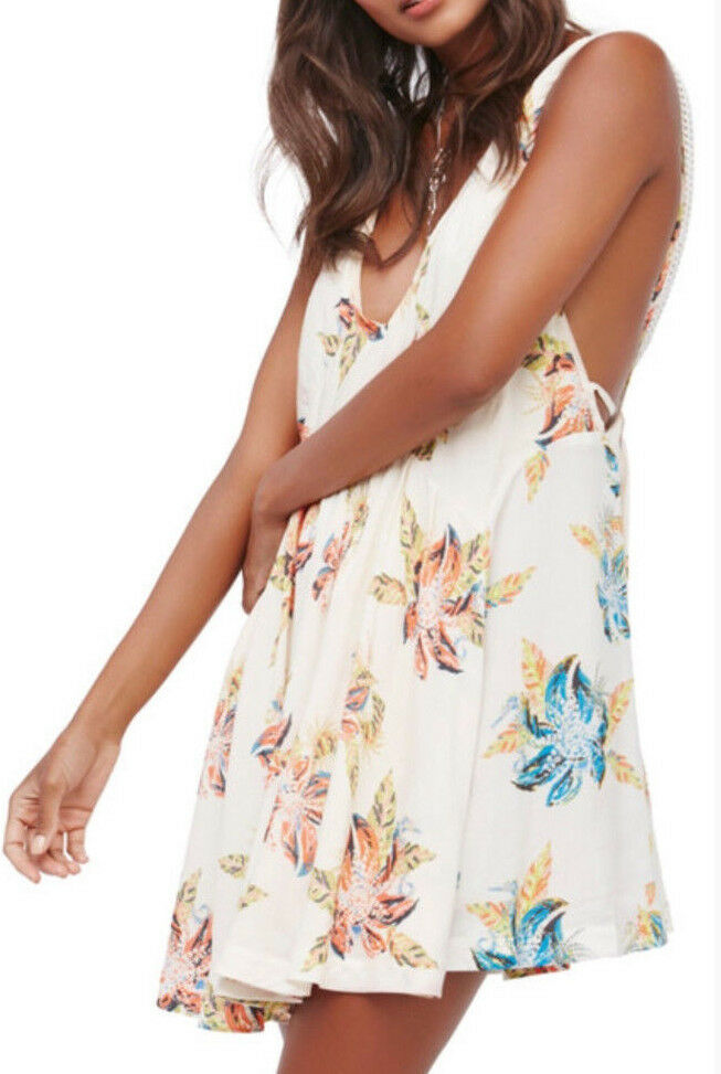 Free People OB602380 Thought I was Dreaming Mini Dress Ivory Combo