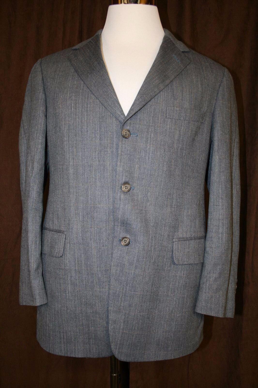 Brooks Brothers Blazer Sports Coat Silk Wool Linen Blend Blau Herringbone 41R