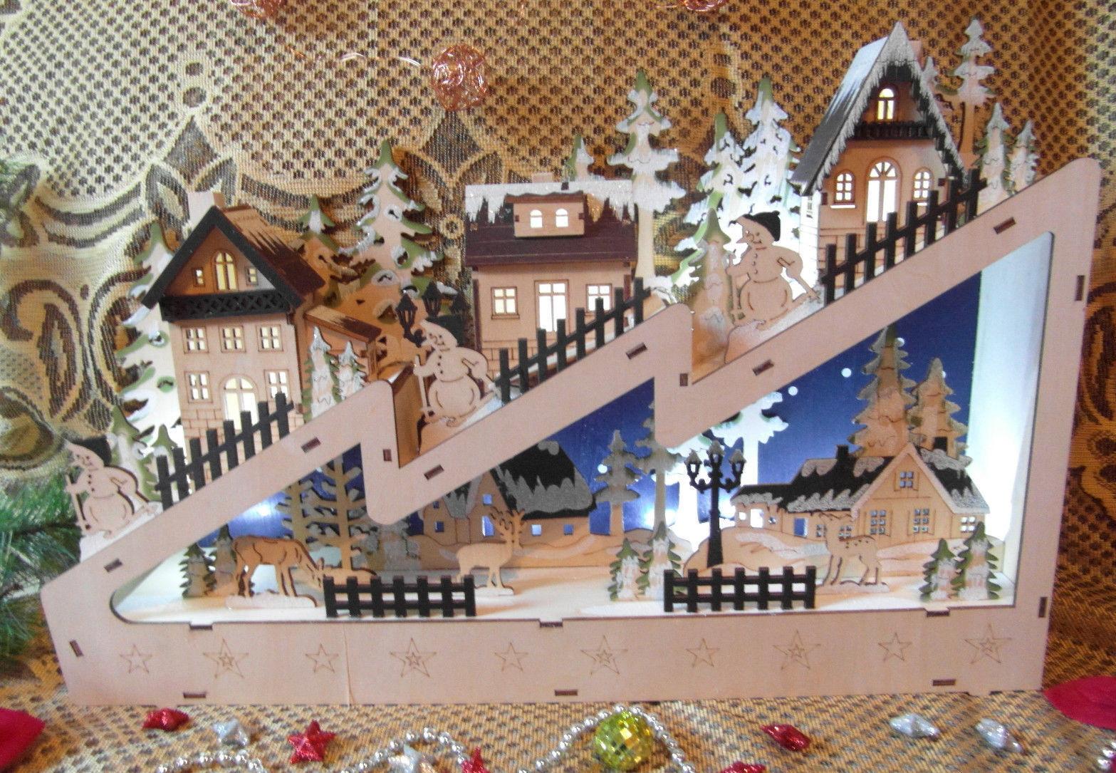 Weihnachtsdorf 3 D  Dorf Beleuchtung Holz  Figuren  Weihnachten LeuchteNEU A