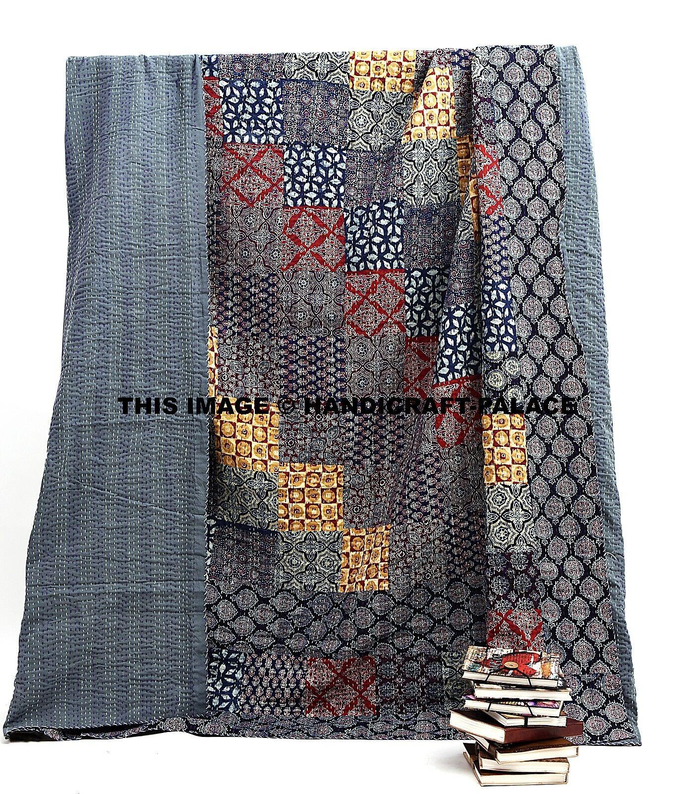 Indian Patchwork Kantha Quilt Königin Ajrakh Bettspread Handmade Bettding Throw