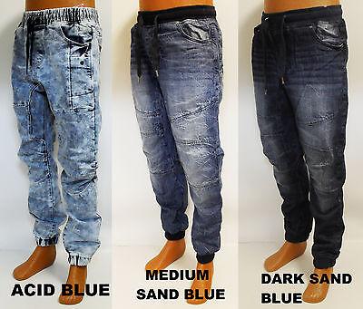 Men's WT02 medium blue black sand jeans drop crotch denim joggers 14391-3341