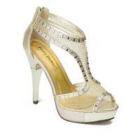 Pierre Dumas Gold Medium Special Occasion Synthetic Platforms High Stiletto Heel