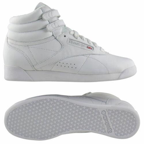 2240 Reebok Freestyle Schwarz Leder Fitness Sneaker Hi Damen Schuhe 2431 Weiß B1pBTq