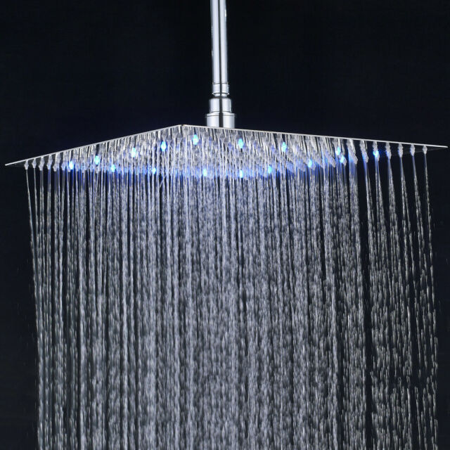 16-inch Square Shower Head Ceiling//Wall Mount Chrome Rainfall Shower Rotate