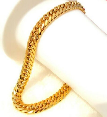 Thick Heavy 24K Gold Plated Cuban Curb Link Bracelet Bangle 23cm 9inch Miami UK