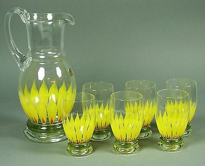Saftkrug 6 SaftglÄser Theresienthal WasserglÄser Wasserkrug Glas Sunflower Dekor Ausgezeichnete (In) QualitäT