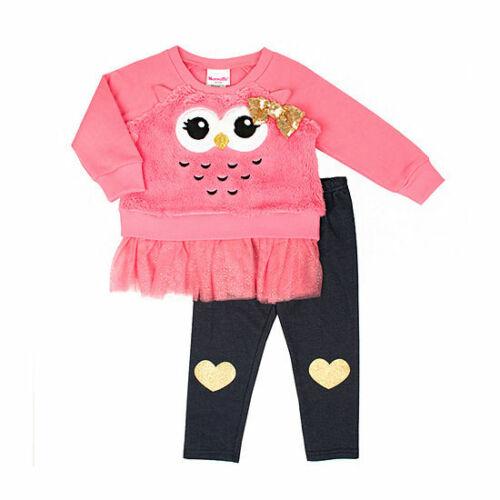 Nanette Girls Owl Faux Fur Sweatshirt Leggings 12 Months 18 Months 24 Months NWT