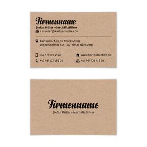 Details Zu Visitenkarten Individuell Business Karten 300g Qm 85 X 55 Mm Kraftpapier Look