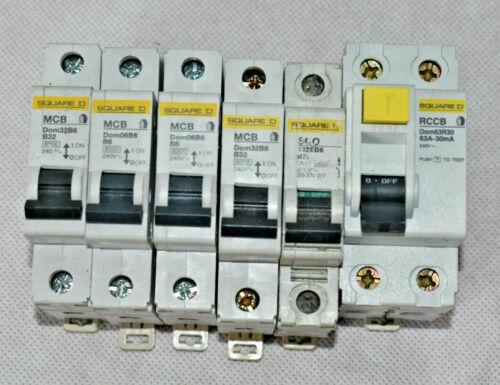 Interruptor de circuito Domae Square D 6amp 32 amp RCCB tu eliges poste libre