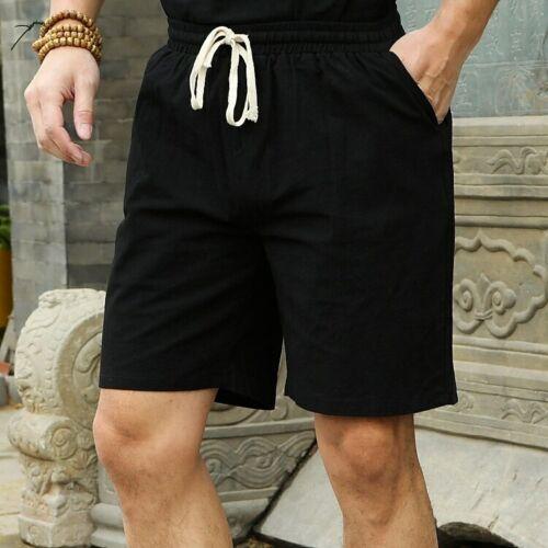 Men/'s Summer Plus Size Short Elastic Waist Casual Flax Bermuda Beach Clothes New