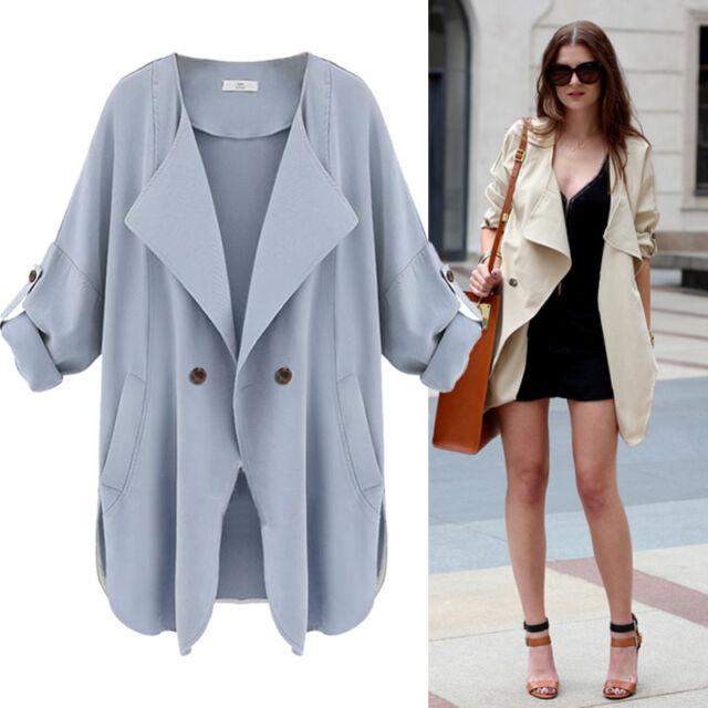 Fashion Women Slim Long Coat Jacket Trench Windbreaker Parka Outwear Cardigan