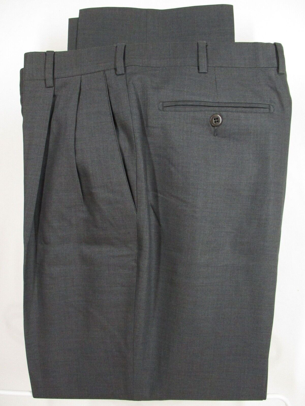 Zanella Bennett Mens Grey Pleated Lgold Piana S130s Dress Size 36 34x29.5