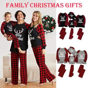 Family Matching Adult Kids Christmas Sleepwear Xmas Nightwear Pajamas Gray