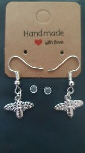 Silver Bee Earrings Hook with rubber backing