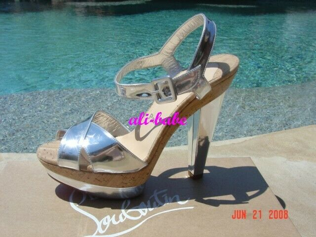 Christian Louboutin La Falaise silver sandal heels IT 37 US 7 NIB