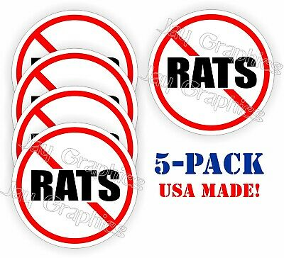 Motorcycle Helmet Labels 5-pack NO RATS Hard Hat Decals Vinyl Stickers Funny