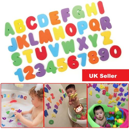 LEARN 36PC FOAM BATH NUMBERS AND LETTERS TILE CHILD BABY KIDS BATH TOY FUN JF