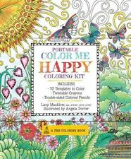 A Zen Coloring Book: Portable Color Me Happy Coloring Kit : Includes Book, Colored Pencils and Twistable Crayons by Lacy Mucklow (2016, Kit)