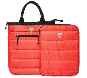 New Guess Women's Red Quilted Tote Bag &