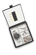 ROYCE LEATHER BLACK WATCH AND CUFF LINKS BOX ORGANIZER NEW WITH TAGS $100
